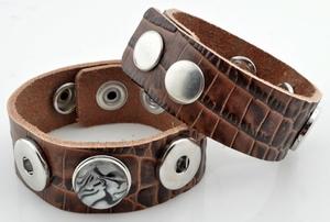 Leather bracelet brown crackle, wrist 16-18-20 cm