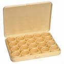 Vakdoos geel met 20 ronde potjes
